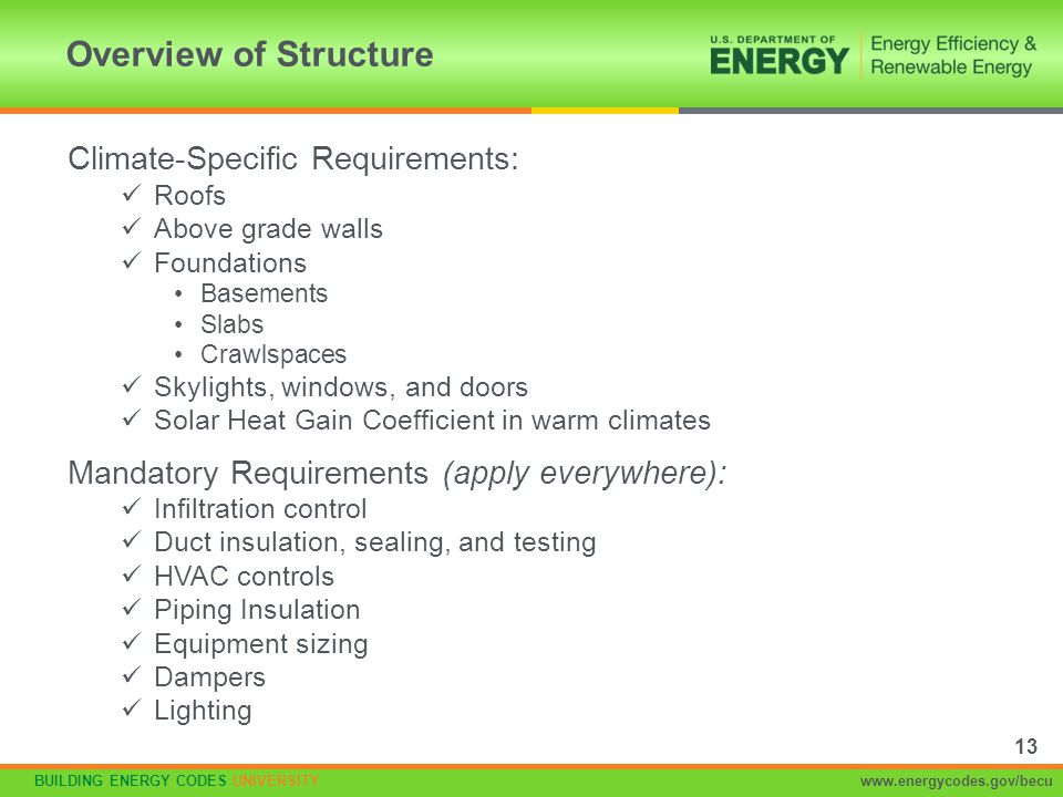 Overview of Structure Climate-Specific Requirements: