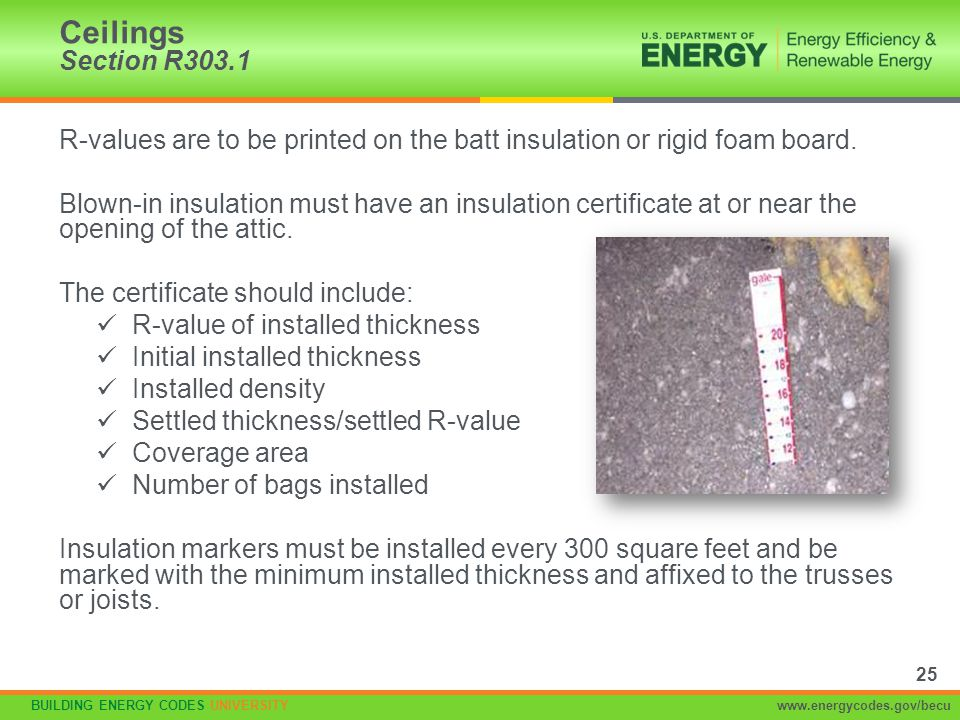Ceilings Section R303.1 R-values are to be printed on the batt insulation or rigid foam board.