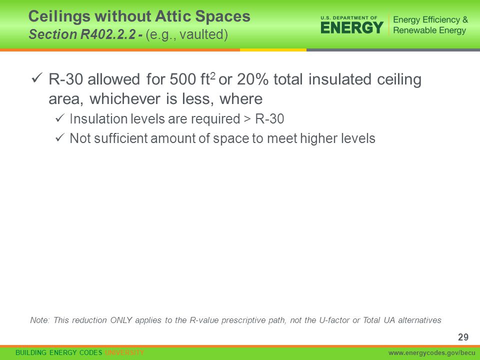 Ceilings without Attic Spaces Section R402.2.2 - (e.g., vaulted)