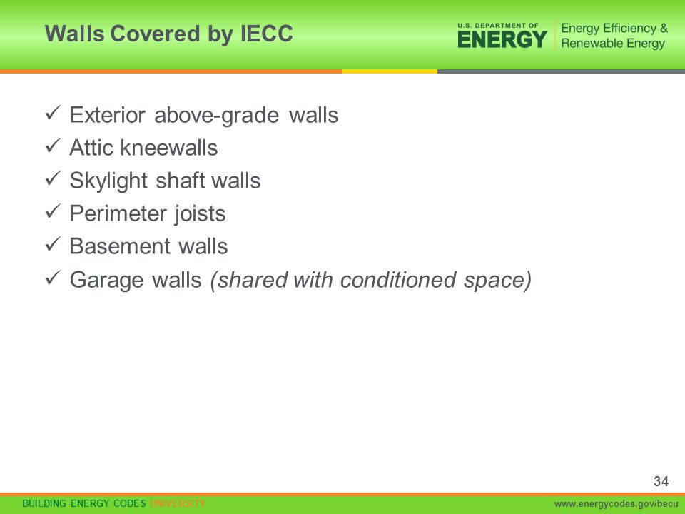 Walls Covered by IECC Exterior above-grade walls. Attic kneewalls. Skylight shaft walls. Perimeter joists.