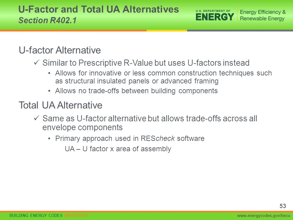 U-Factor and Total UA Alternatives Section R402.1