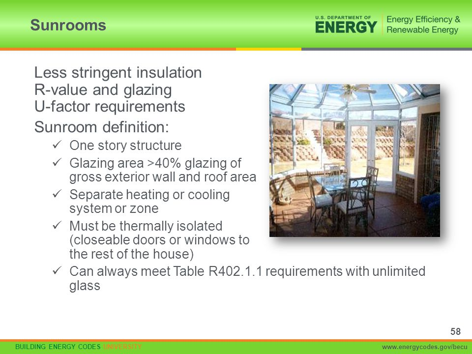Less stringent insulation R-value and glazing U-factor requirements