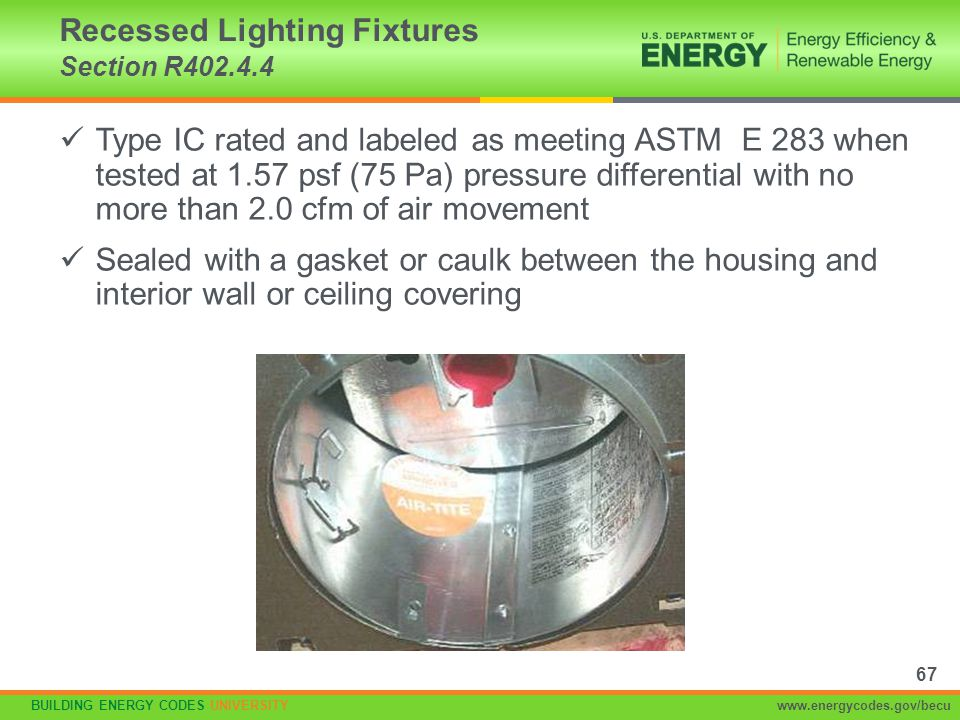 Recessed Lighting Fixtures Section R402.4.4