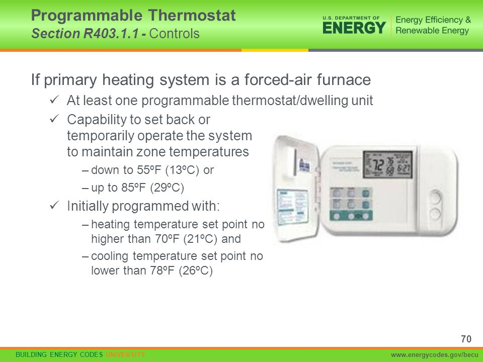 Programmable Thermostat Section R403.1.1 - Controls