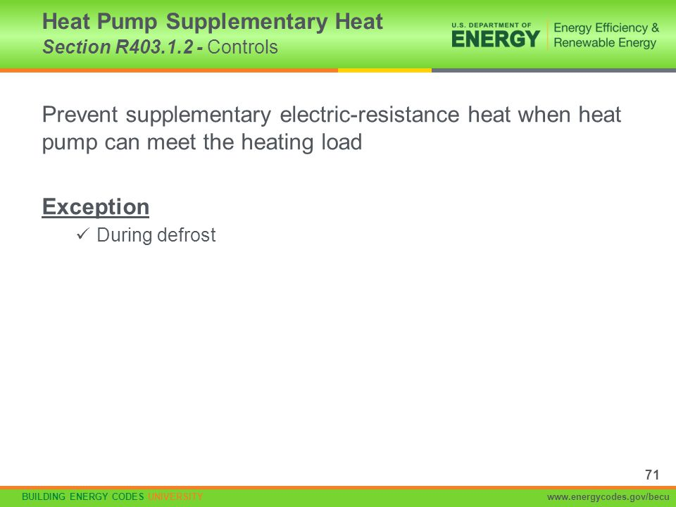 Heat Pump Supplementary Heat Section R403.1.2 - Controls