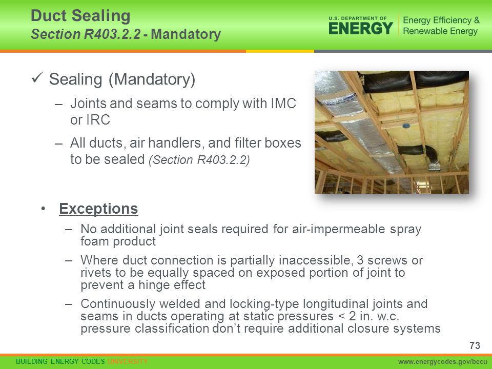 Duct Sealing Section R403.2.2 - Mandatory