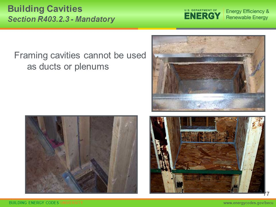 Building Cavities Section R403.2.3 - Mandatory