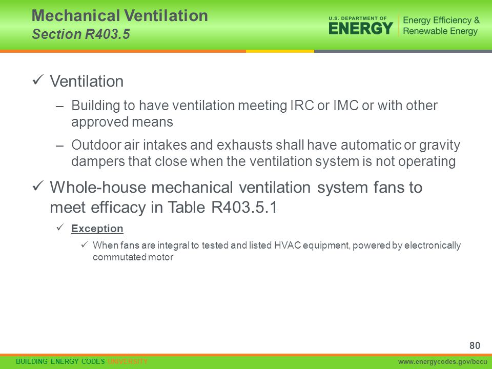 Mechanical Ventilation Section R403.5