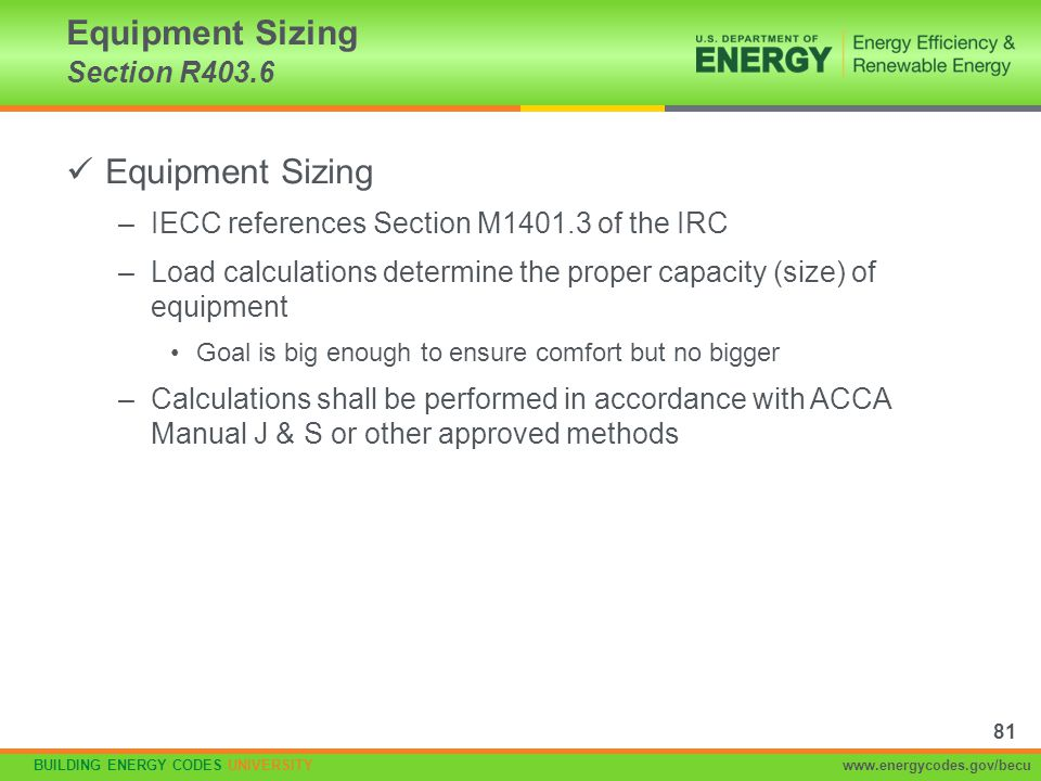 Equipment Sizing Section R403.6
