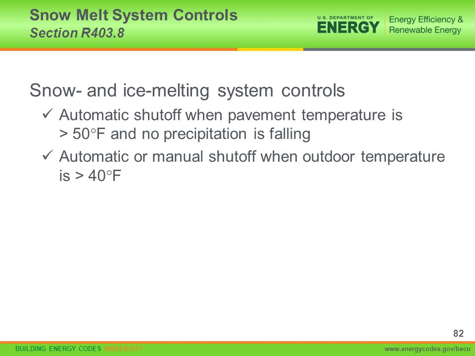 Snow Melt System Controls Section R403.8