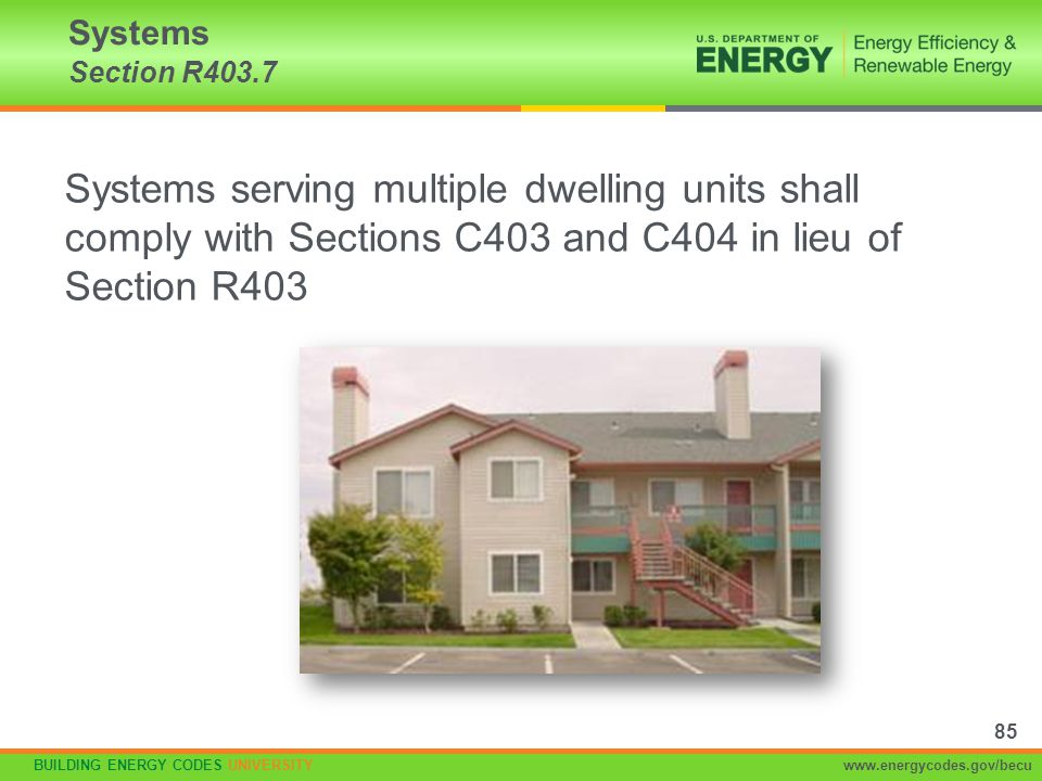 Systems Section R403.7 Systems serving multiple dwelling units shall comply with Sections C403 and C404 in lieu of Section R403.