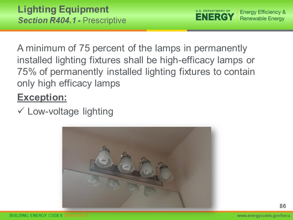 Lighting Equipment Section R404.1 - Prescriptive