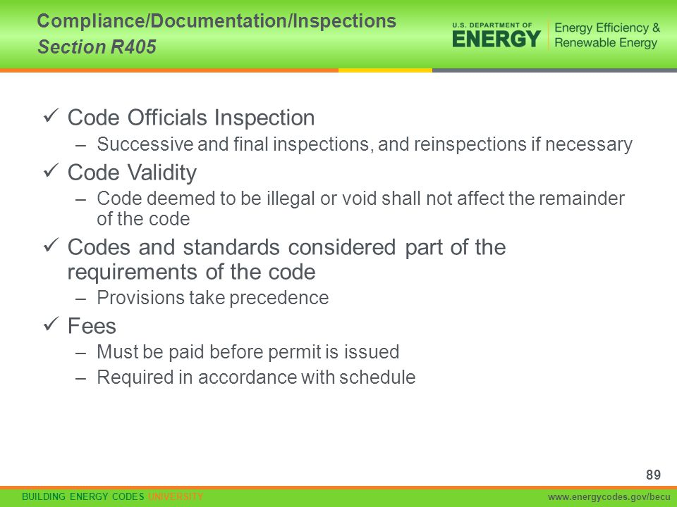 Compliance/Documentation/Inspections Section R405