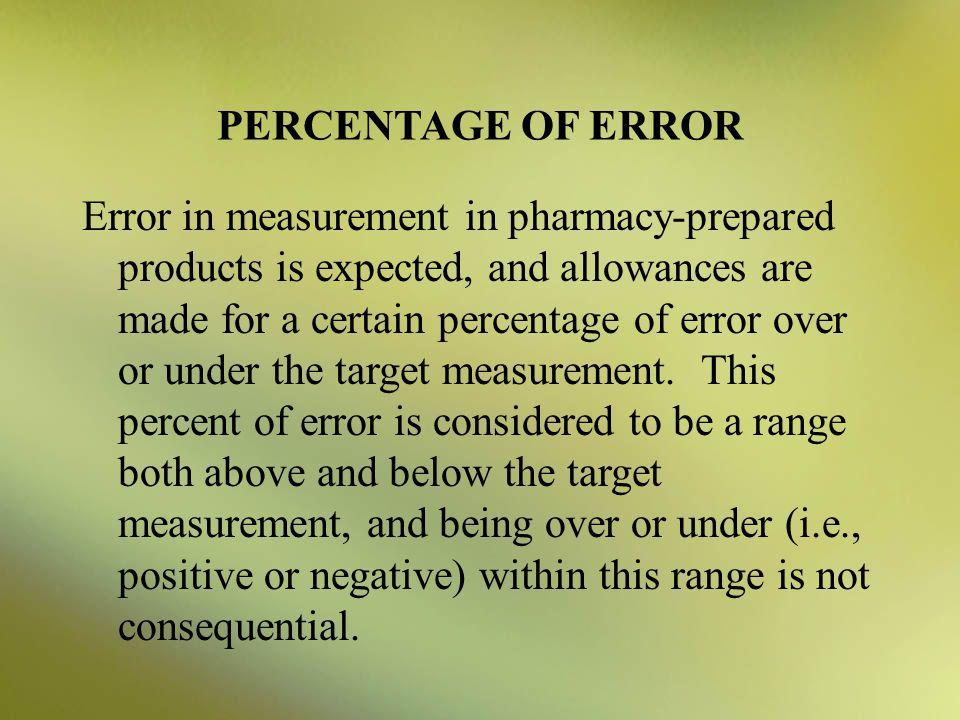 PERCENTAGE OF ERROR