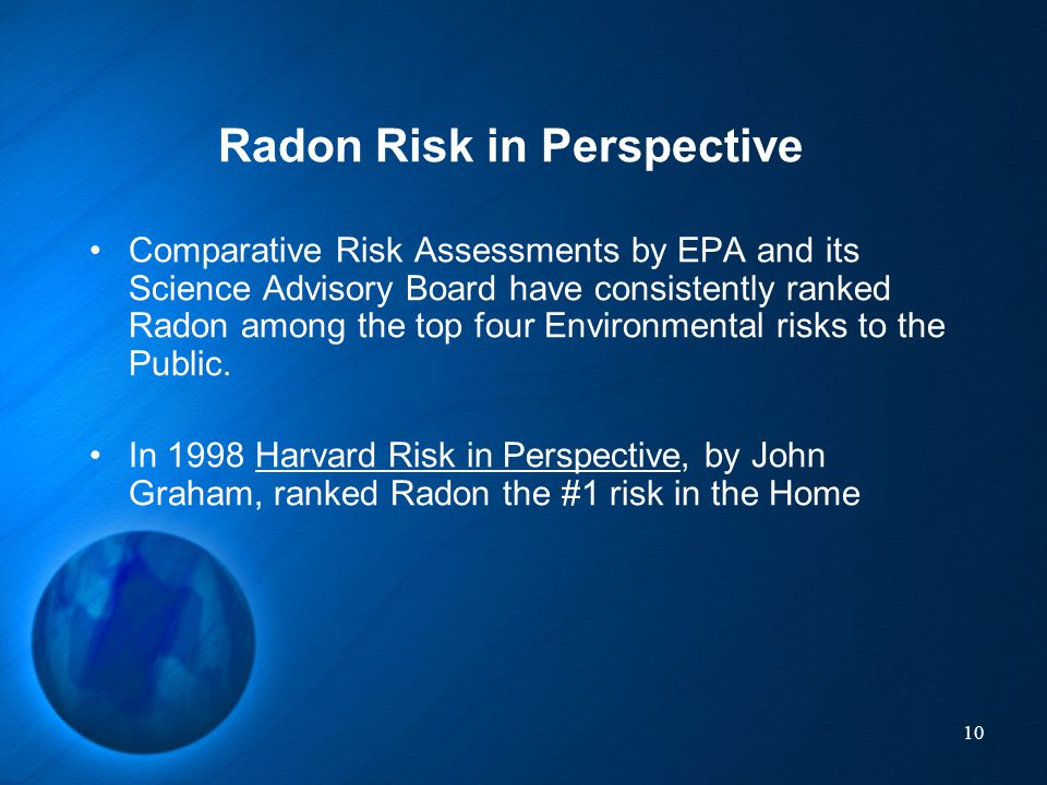 Radon Risk in Perspective