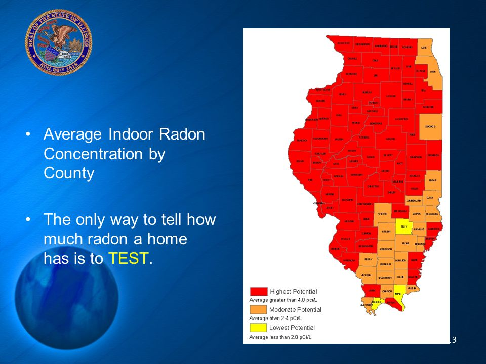 Average Indoor Radon Concentration by County