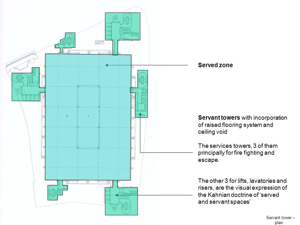 Served zone Servant towers with incorporation of raised flooring system and ceiling void.