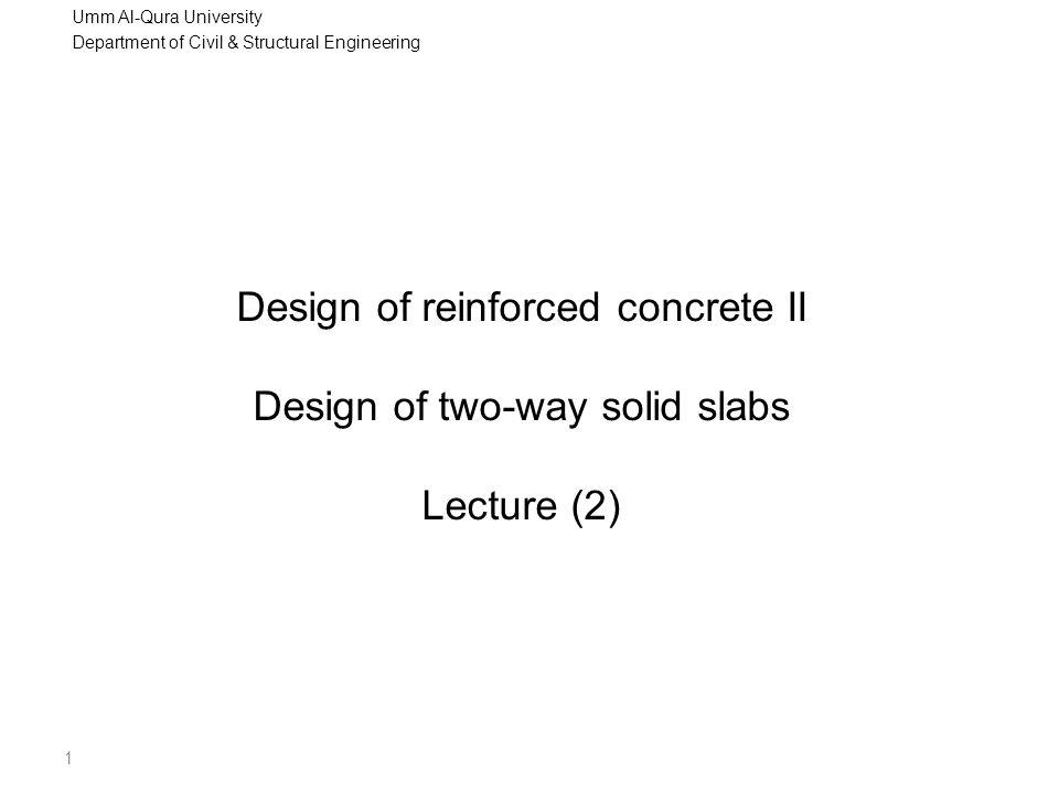 Umm Al-Qura University Department of Civil & Structural Engineering