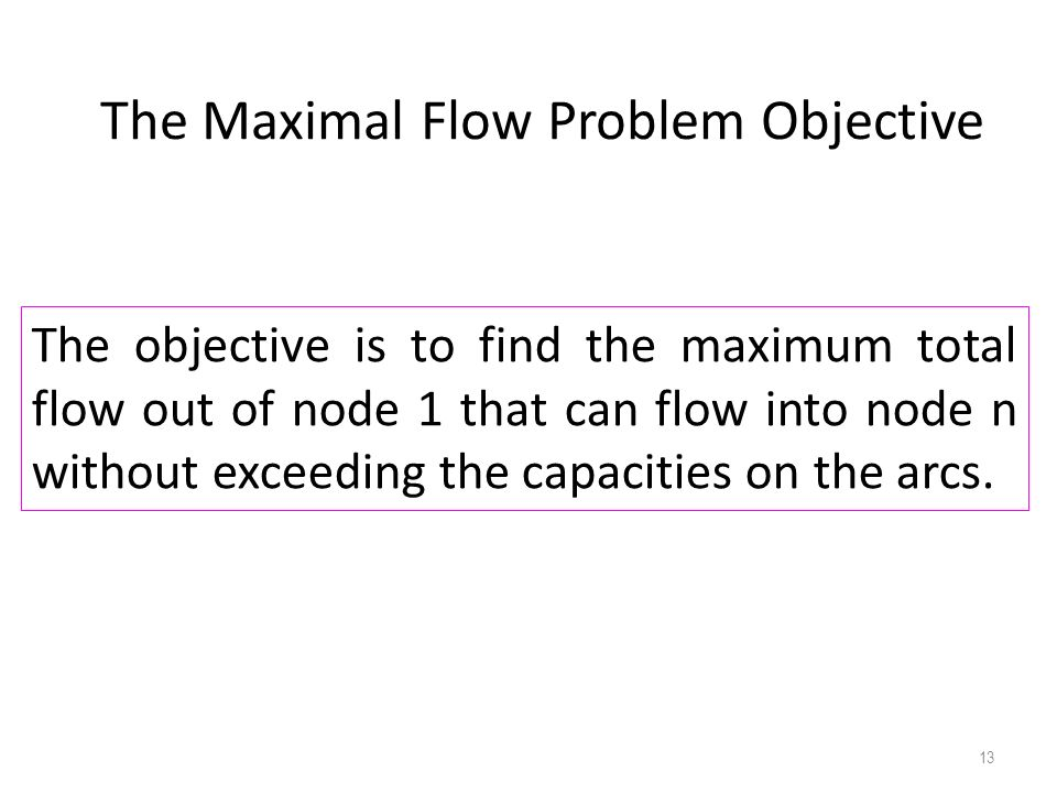The Maximal Flow Problem Objective