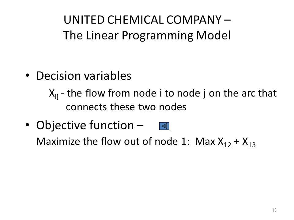 UNITED CHEMICAL COMPANY – The Linear Programming Model