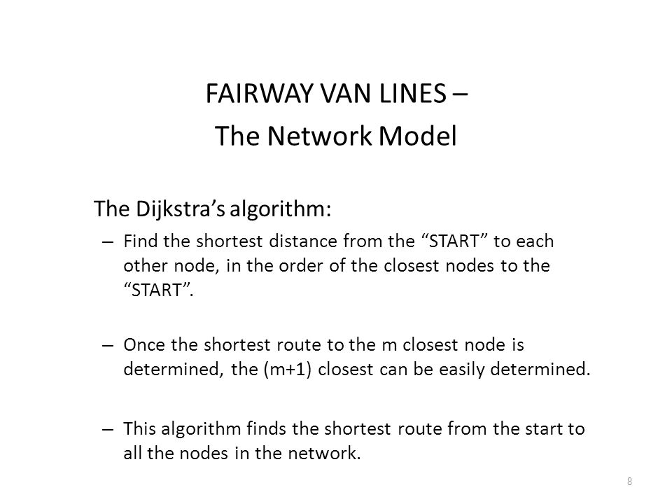 FAIRWAY VAN LINES – The Network Model