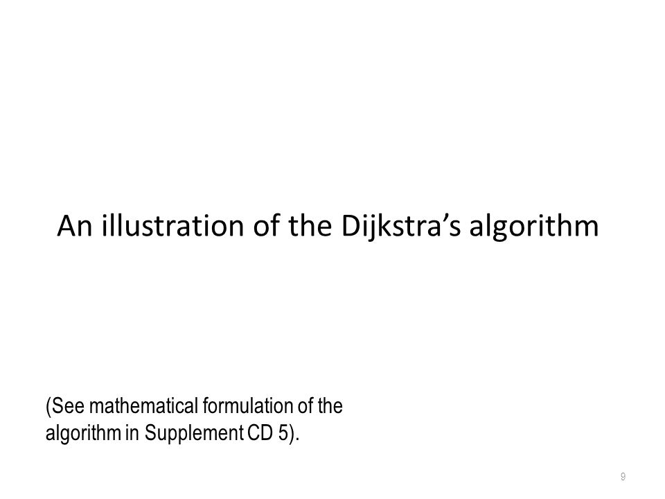 An illustration of the Dijkstra's algorithm