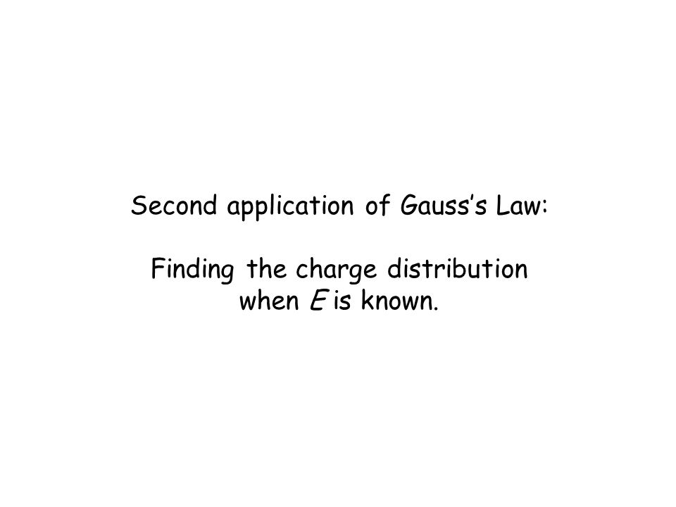 Second application of Gauss's Law: