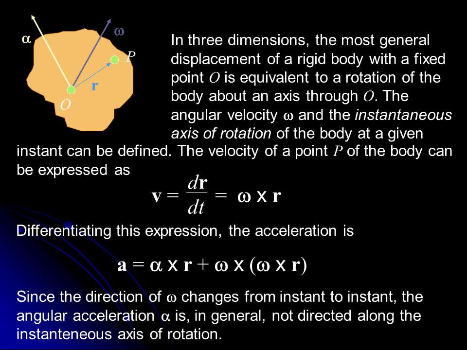 dr v = = w x r dt a = a x r + w x (w x r) w a