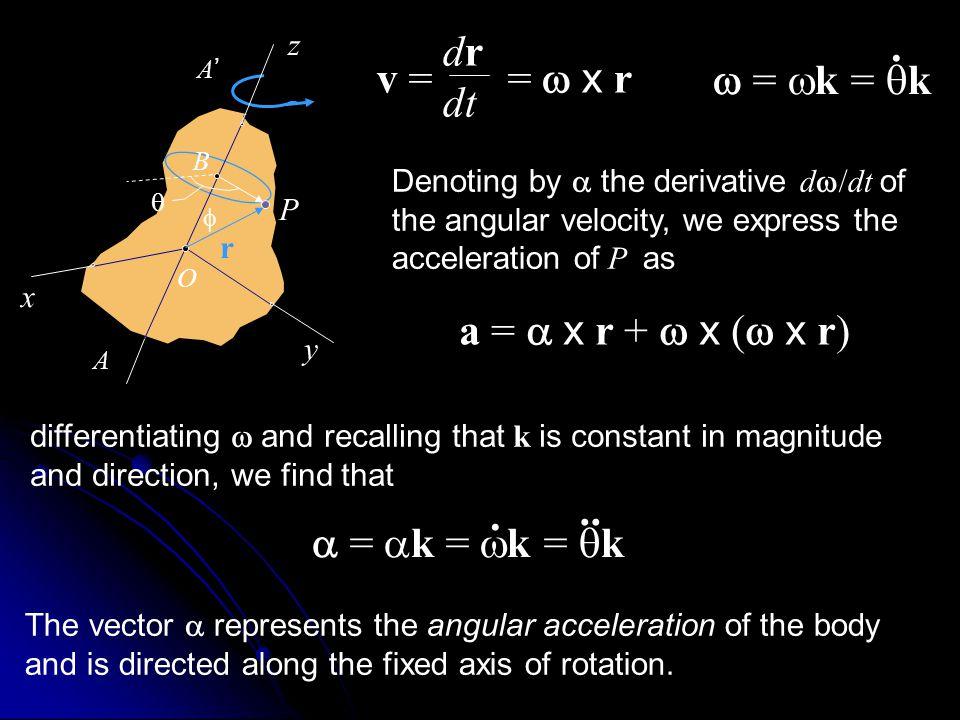 . dr v = = w x r dt w = wk = qk a = a x r + w x (w x r) .. .