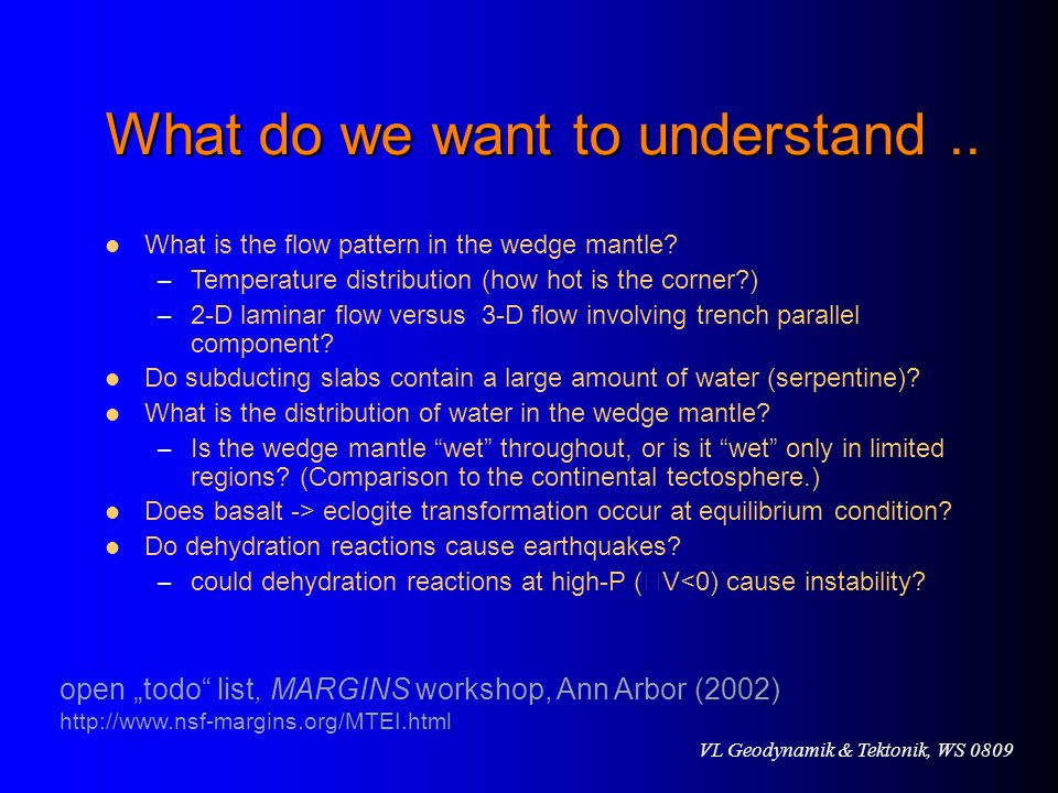 What do we want to understand ..