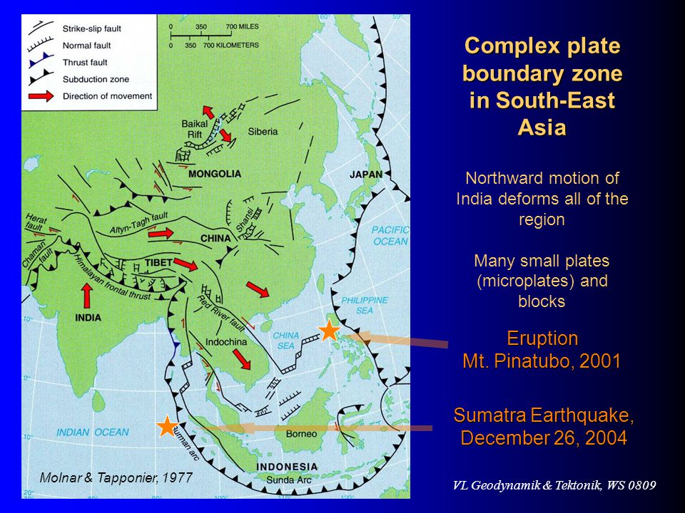 Complex plate boundary zone in South-East Asia