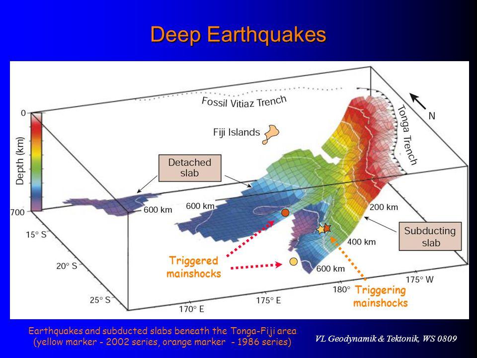 Deep Earthquakes Triggered mainshocks Triggering mainshocks