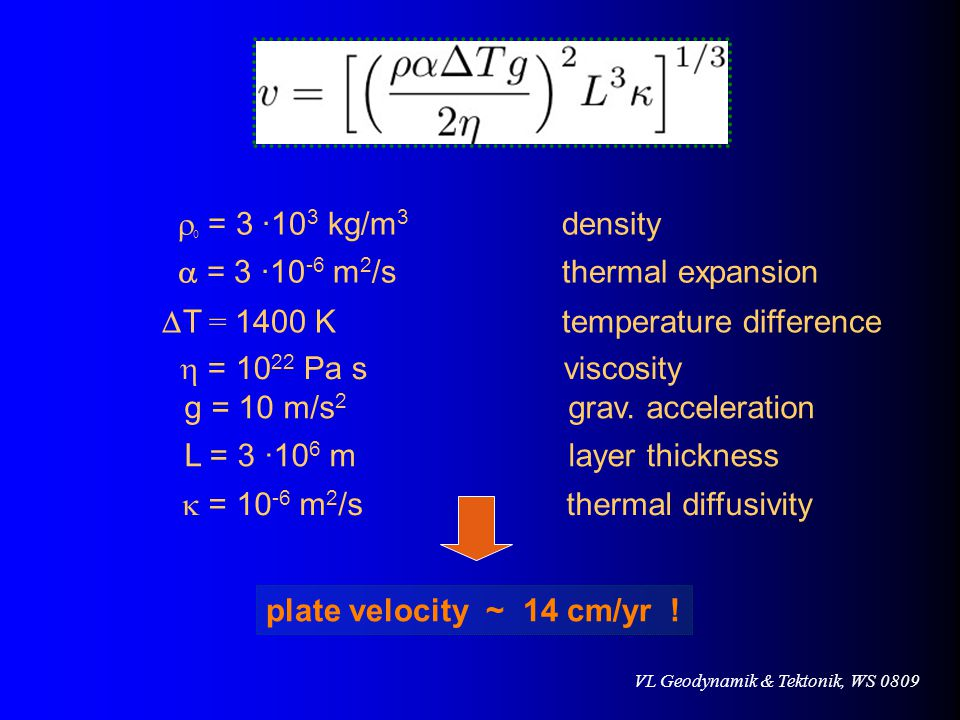 r0 = 3 ·103 kg/m3 density a = 3 ·10-6 m2/s thermal expansion. DT = 1400 K temperature difference.