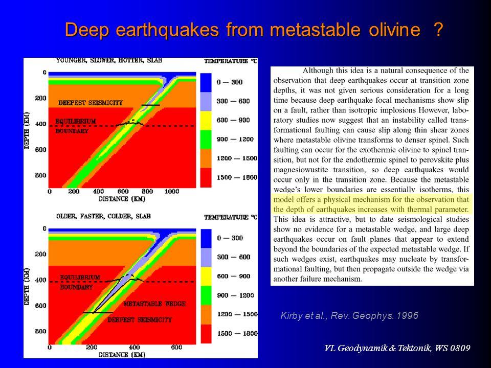 Deep earthquakes from metastable olivine