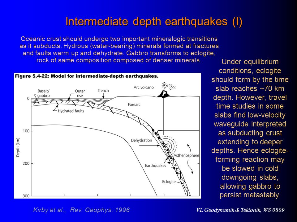 Intermediate depth earthquakes (I)