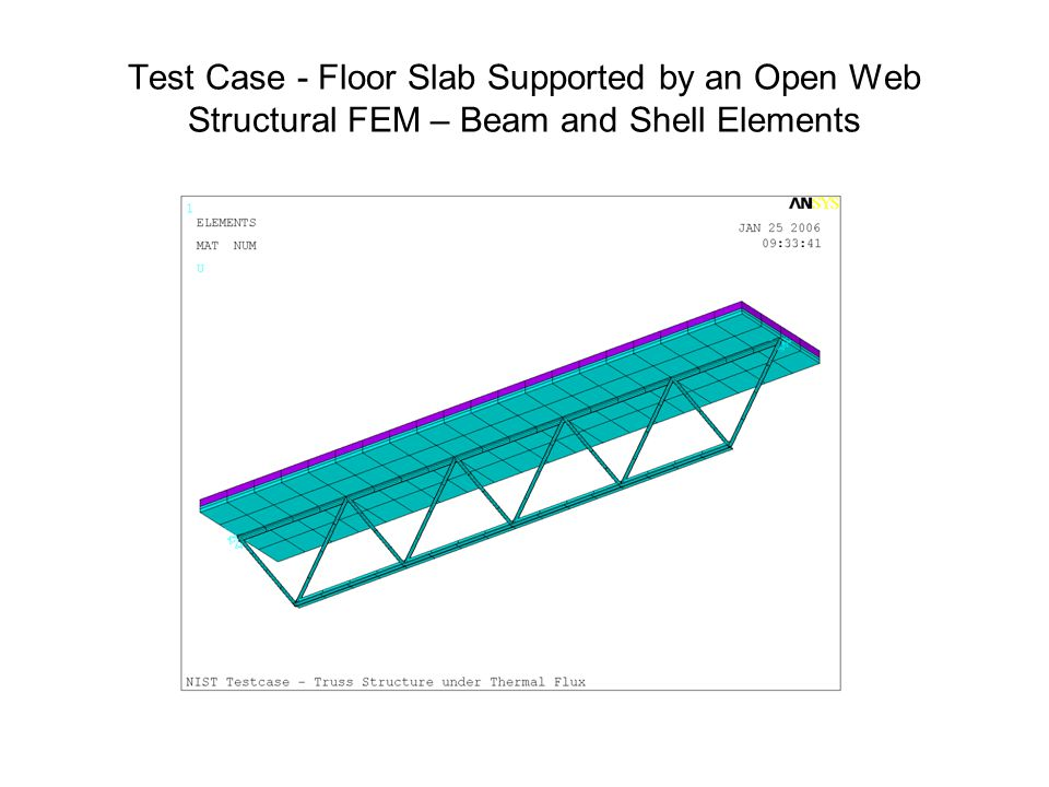 Test Case - Floor Slab Supported by an Open Web Structural FEM – Beam and Shell Elements