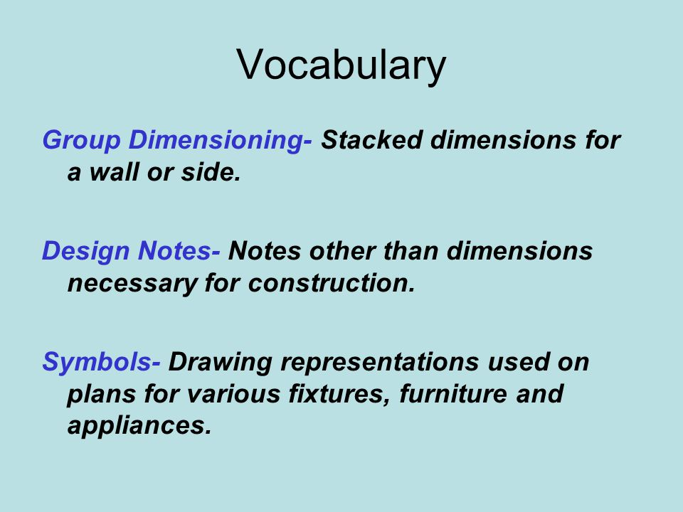 Vocabulary Group Dimensioning- Stacked dimensions for a wall or side.
