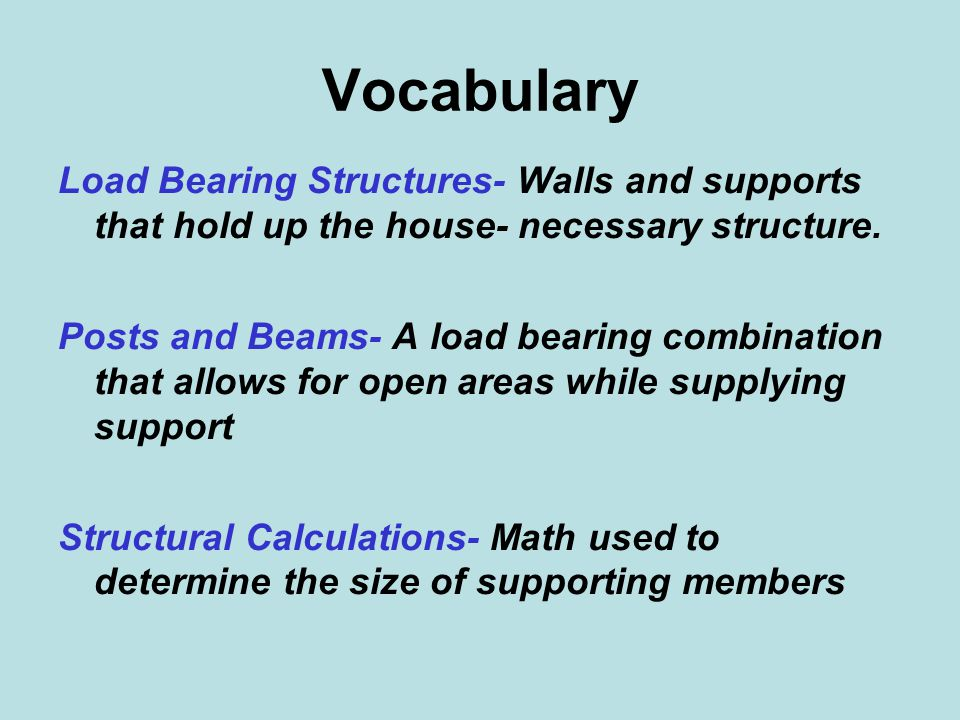 Vocabulary Load Bearing Structures- Walls and supports that hold up the house- necessary structure.