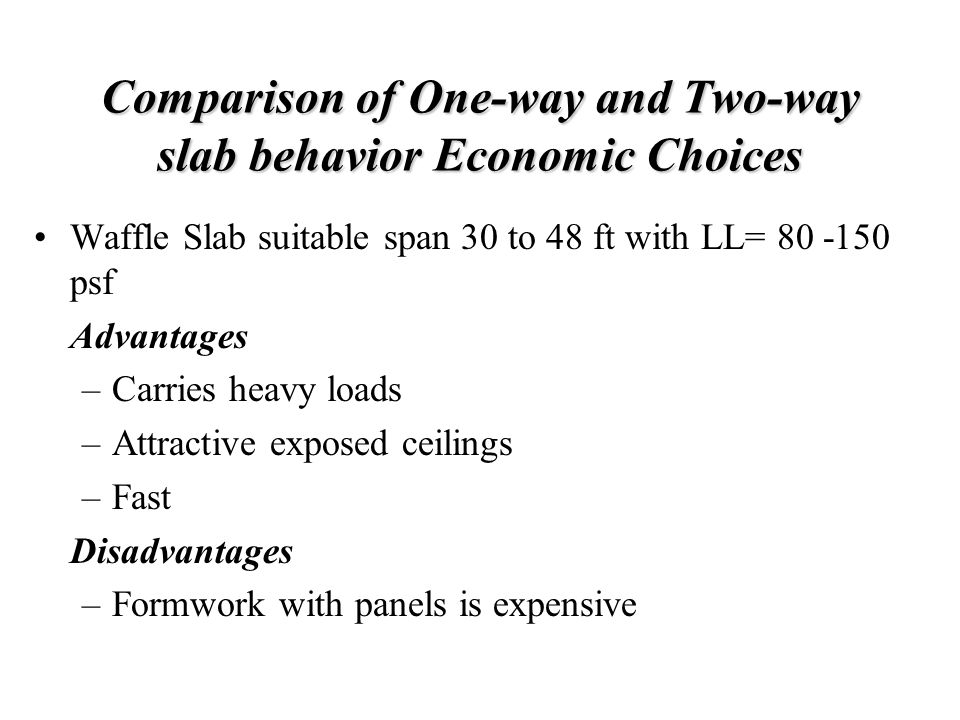 Comparison of One-way and Two-way slab behavior Economic Choices