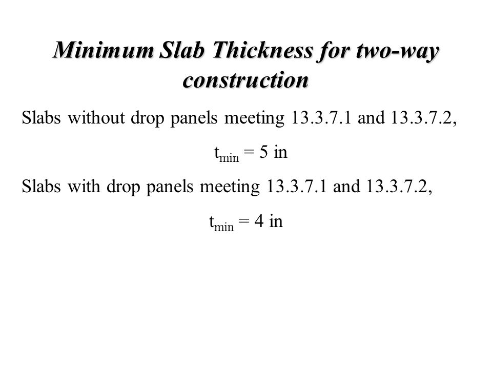 Minimum Slab Thickness for two-way construction