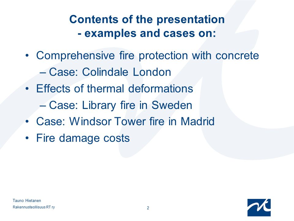 Contents of the presentation - examples and cases on: