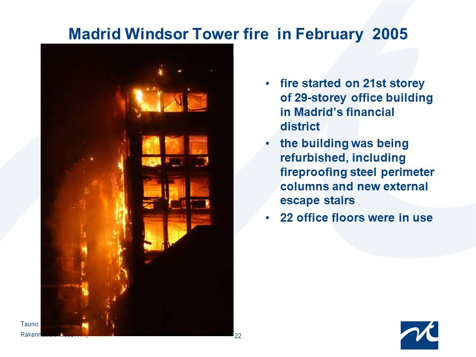 Madrid Windsor Tower fire in February 2005