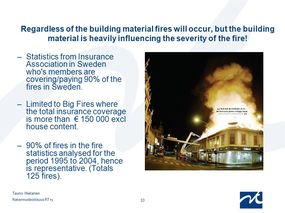 12.4.2017 Regardless of the building material fires will occur, but the building material is heavily influencing the severity of the fire!