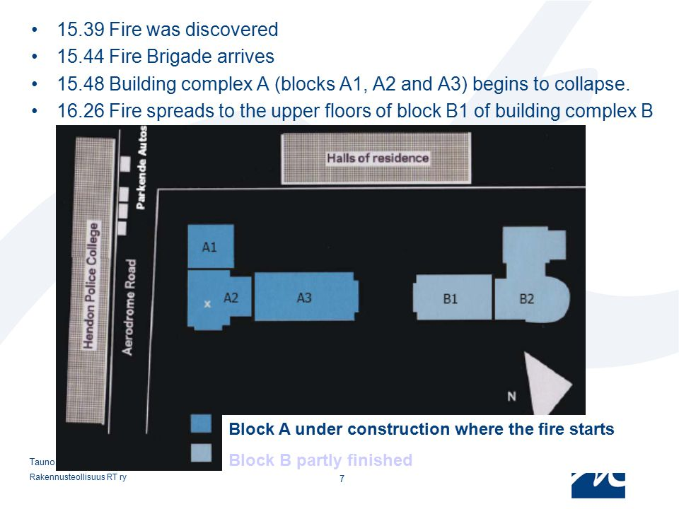 15.48 Building complex A (blocks A1, A2 and A3) begins to collapse.