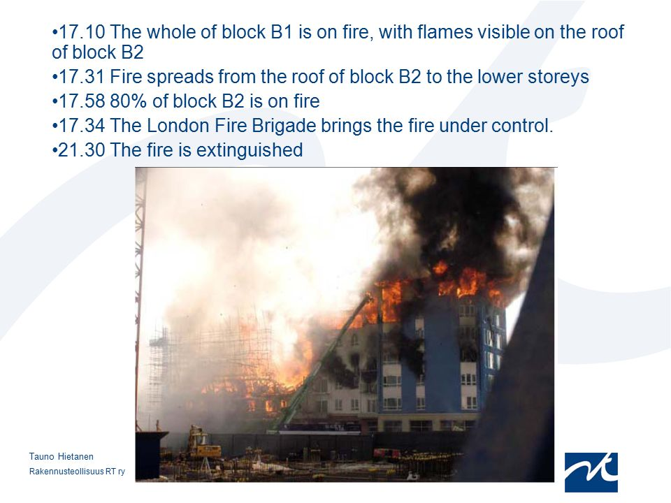 17.31 Fire spreads from the roof of block B2 to the lower storeys