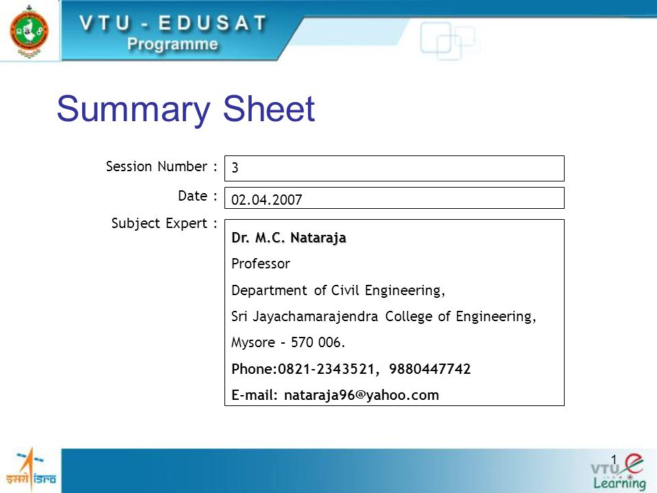 Summary Sheet Session Number : 3 Date : 02.04.2007 Subject Expert :