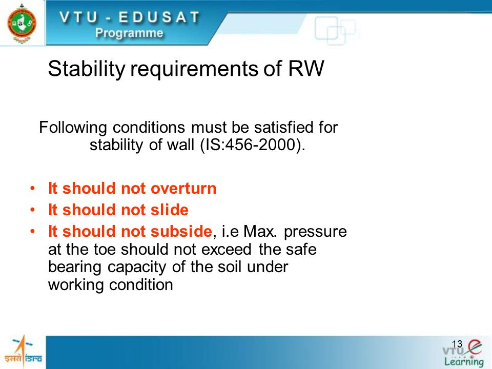 Stability requirements of RW
