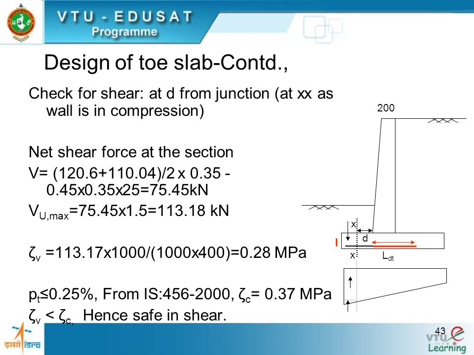 Design of toe slab-Contd.,