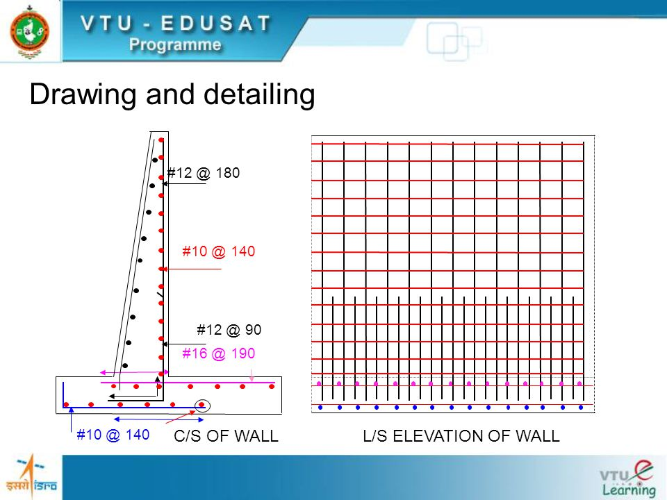 Drawing and detailing C/S OF WALL L/S ELEVATION OF WALL #12 @ 180