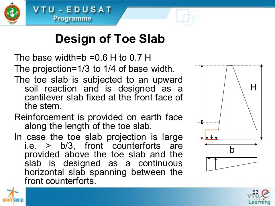 Design of Toe Slab The base width=b =0.6 H to 0.7 H